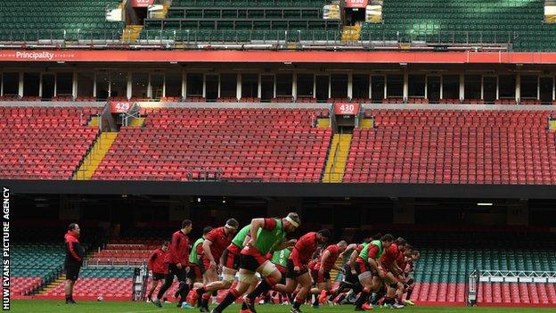 Wales players training at the Principality Stadium this week
