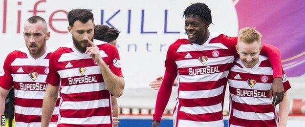 Rakish Bingham celebrates his goal aganist Celtic