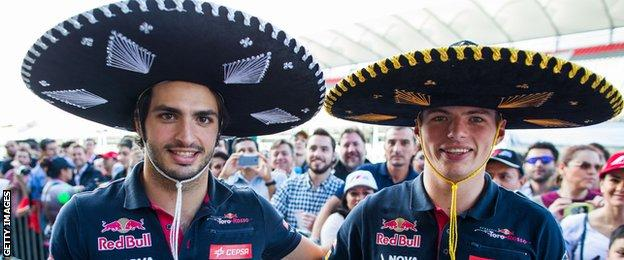 Carlos Sainz and Ma Verstappen at the Mexico Grand Prix