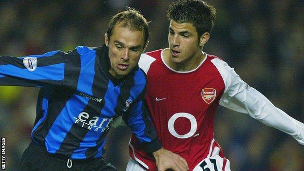 Cesc Fabregas with Paul Warne