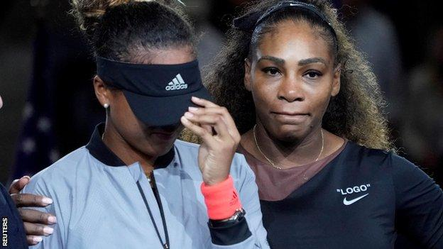 Serena William comforts Naomi Osaka after her US Open win