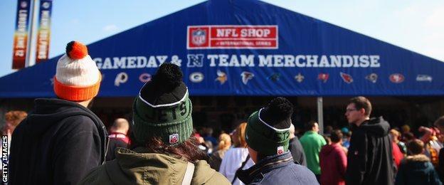 The NFL merchandise tent at Wembley
