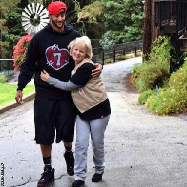 Colin Kaepernick and his mum Teresa