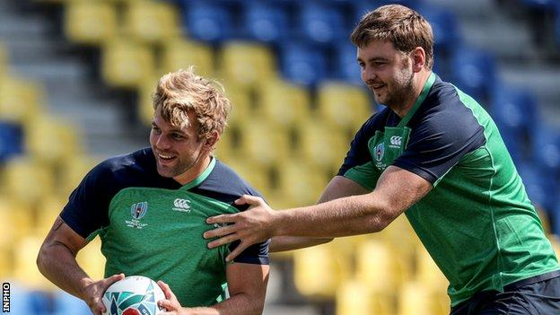 Jordi Murphy and Iain Henderson during Ireland training last month