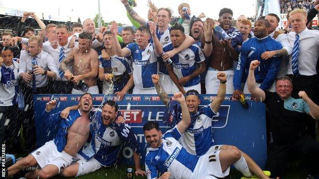 Bristol Rovers celebrate promotion