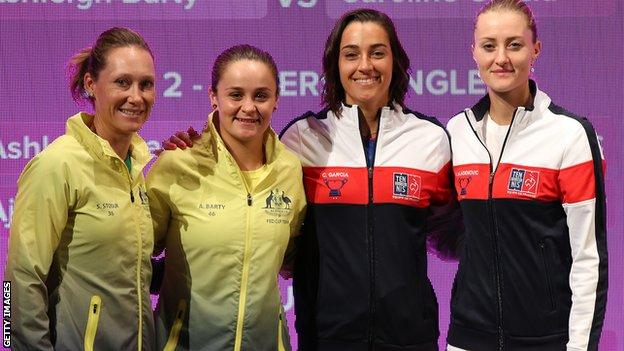 Sam Stosur, Ashleigh Barty, Caroline Garcia and Kristina Mladenovic