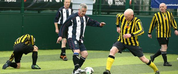 Grimsby Ancient Mariners take on Hornsea 3G in the Walking Football final during the FA People's Cup semi-final in Manchester