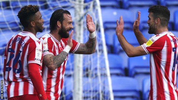 Stoke striker Steven Fletcher celebrates his goal against Reading