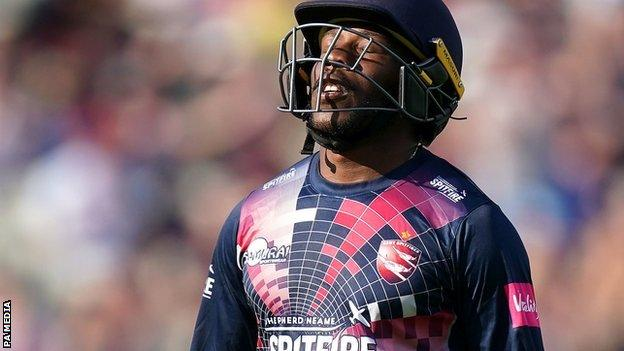 Kent's Daniel Bell-Drummond departed just 18 short of becoming the first man to hit a T20 ton at Finals Day