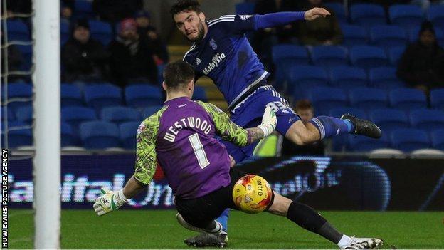 Tony Watt scores for Cardiff against Brentford