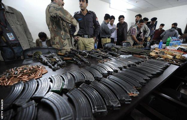 Pakistan police display recovered militants' weapons