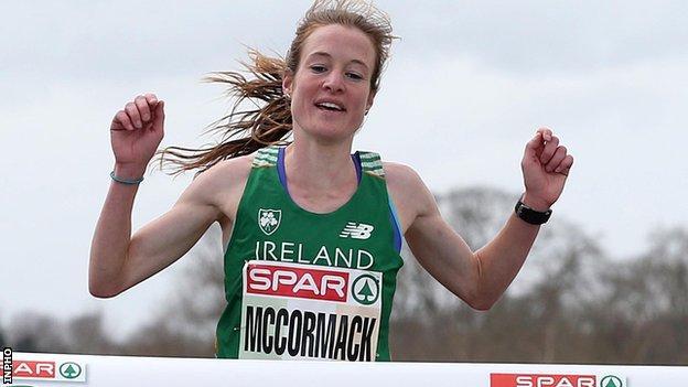 Fionnuala McCormack crosses the line to win the women's race in Dublin