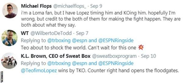 Some boxing fans on Twitter think Lopez could beat Lomachenko, with one saying he will win by knockout