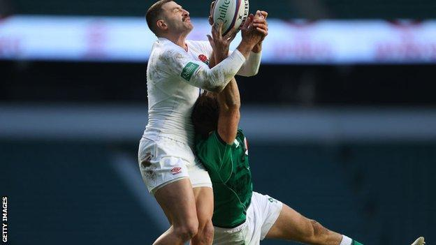 Jonny May outjumps Hugo Keenan to score England's first try v Ireland