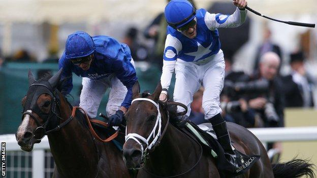 Tepin winning the Queen Anne Stakes at Ascot from Belardo.