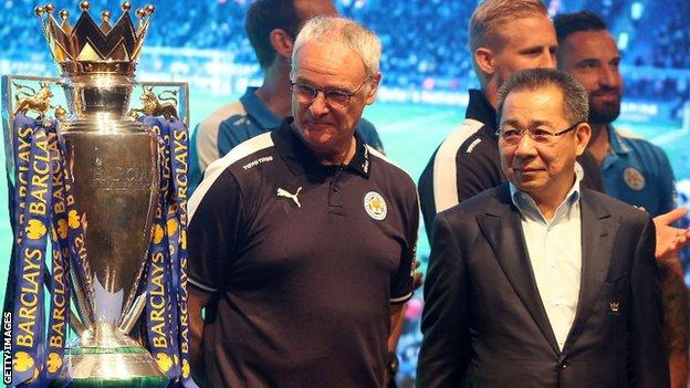 Leicester's Premier League winning manager Claudio Ranieri with Vichai Srivaddhanaprabha