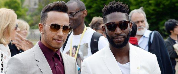 Lewis hamilton (left) and Tinie Tempah
