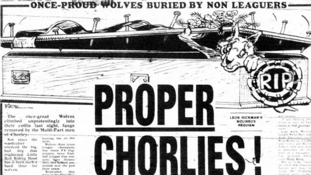 The Birmingham Evening Mail reacted to Wolves' shock FA Cup defeat to non-league Chorley by producing a cartoon of a wolf in a coffin