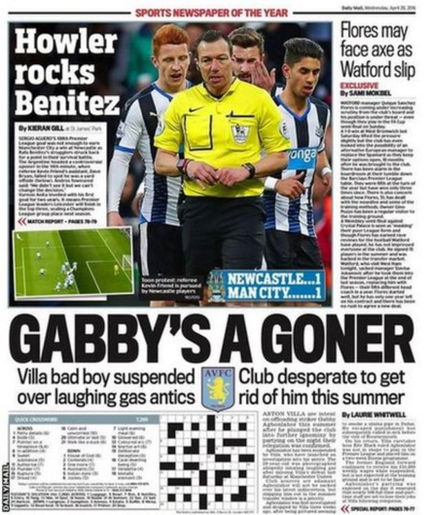 Wednesday's Daily Mail back page