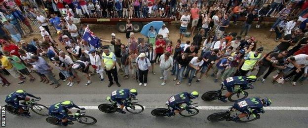 Movistar riders on team time trial