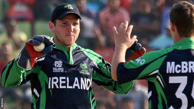 Gary Wilson celebrates one of his 193 dismissals as Ireland wicketkeeper