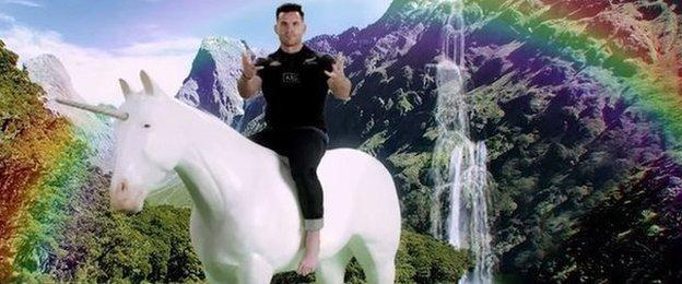 Ryan Crotty on a unicorn