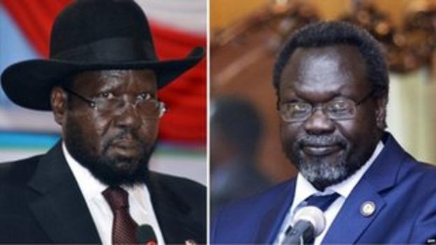 President Salva Kiir (l) and rebel leader Riek Machar (r)