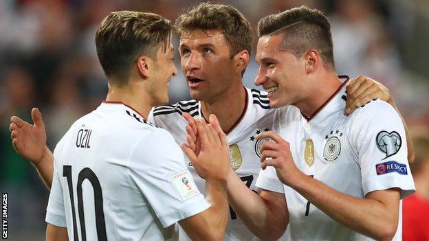 Mesut Ozil, Thomas Muller and Julian Draxler