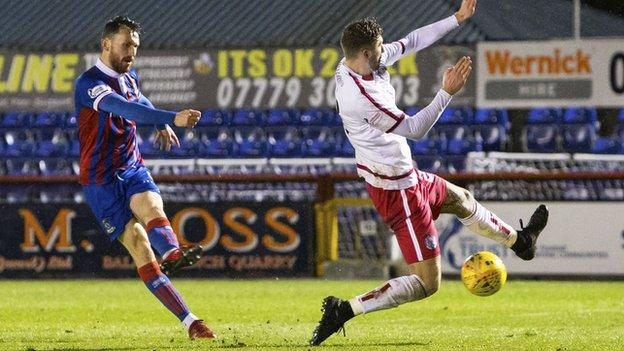Joe Chalmers fires home for Inverness CT against Brechin City