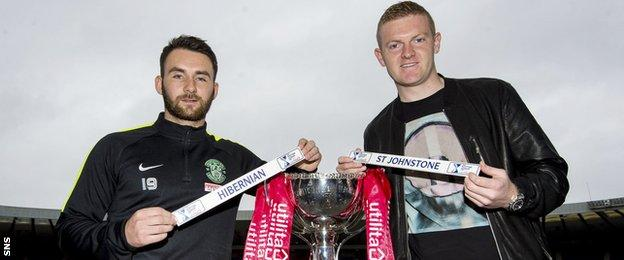 Hibernian forward James Keatings and St Johnstone defender Brian Easton