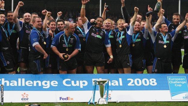 Bath celebrate 2008 Challenge Cup victory
