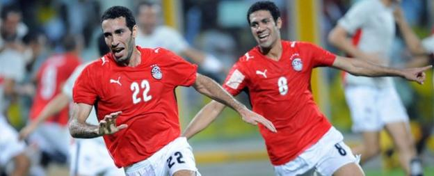 Mohamed Aboutrika wheels away in delight after Egypt win the 2008 Africa Cup of Nations, thanks to his late goal.