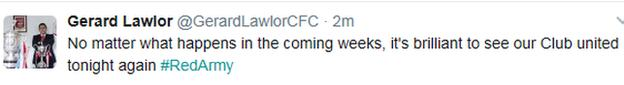 Tweet from Cliftonville chairman Gerard Lawlor