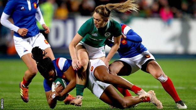 Ireland's Eimear Considine tackles France's Lan Jason in the 2019 Six Nations game at Donnybrook