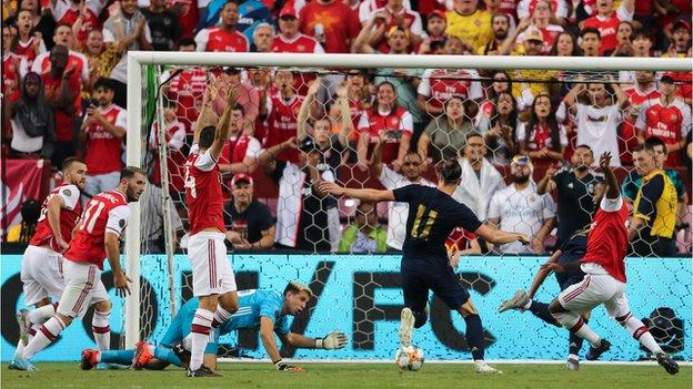 Gareth Bale scores for Real Madrid in the International Champions Cup against Arsenal
