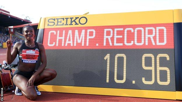 Dina Asher-Smith defended her British Championships women's 100m title in a record time in August