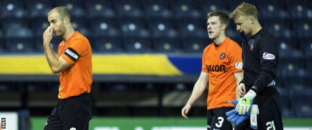 Dundee United players looking dejected