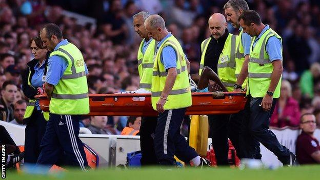 West Ham United forward Enner Valencia is carried off on a stretcher against Astra in the Europa League