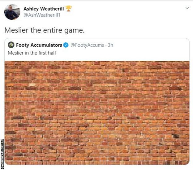 Fan reaction to Illan Meslier performance: A picture of a brick wall