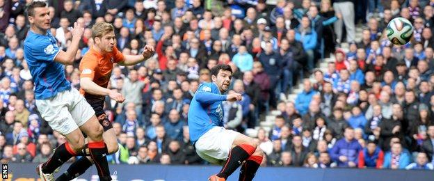 Stuart Armstrong scores for Dundee Untied against Rangers in 2014