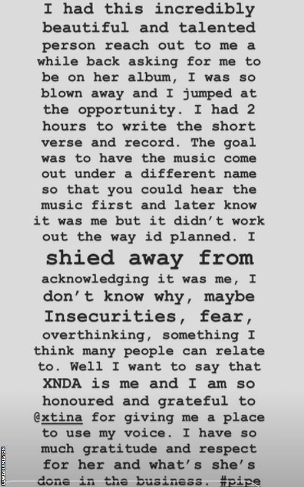 Lewis Hamilton Instagram story admitting he was XDNA, the singer on Christina Aguilera's 2018 track Pipe