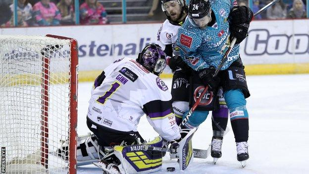 Giants forward Jonathan Ferland attempts to find a way past Storm netminder Matt Ginn