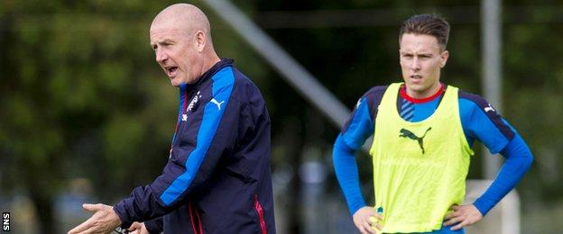 Rangers manager Mark Warburton and midfielder Barrie McKay