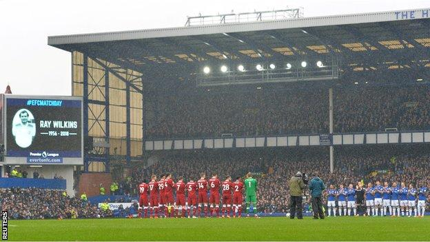 A minute's applause was held before the Merseyside derby in tribute to Ray Wilkins