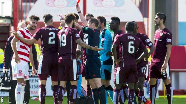 Callum Paterson was red carded during Hearts' 3-2 defeat to Hamilton