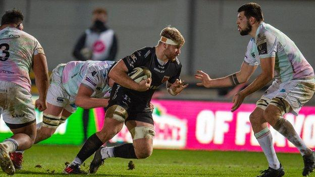 Aaron Wainwright in Dragons' January Pro14 defeat at home to Ospreys