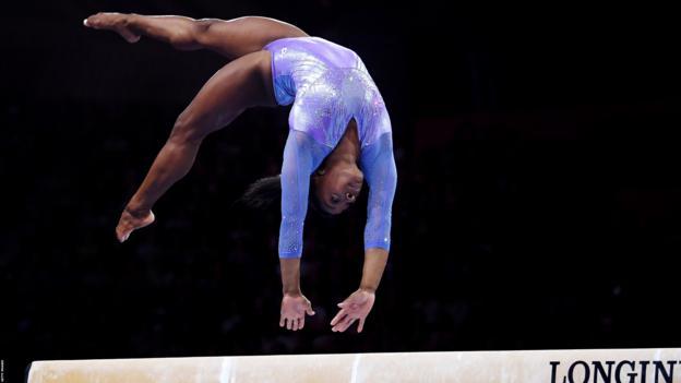 Simone Biles competes at the gymnastics World Championships