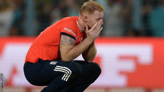 Ben Stokes reacts to being hit for six