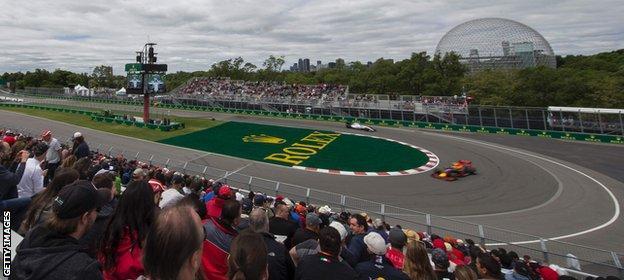 The penultimate corner at the Canadian Grand Prix