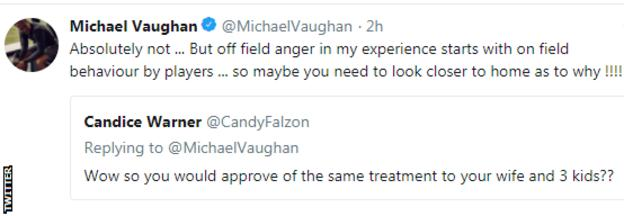 Michael Vaughan replies to Candice Warner on Twitter